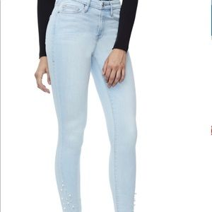 Good American NWT Good Legs Pearl Raw Edge Jeans